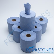 Delta Blue Embossed Centre Feed Roll (Pk 6 180mm x 150m)