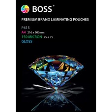 Gloss A2 150 Micron Laminating pouches with Card Carrier. Pack size 100